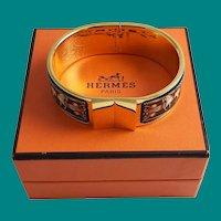 Hermès Clic Clac Equestrian Bracelet Gold Enamel MIB