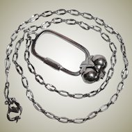 Vintage Solid Sterling Silver - Watch Chain & FOB Necklace