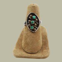 Turquoise and Sterling Native American Ring 6 1/2