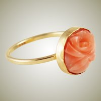 Carved Pink Coral Gold Filled Ring Size 7