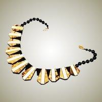 Tiger Coral & Black Onyx Collar Necklace 1970's