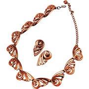 Renoir Copper Butterfly Necklace & Earrings Mid-Century Modern