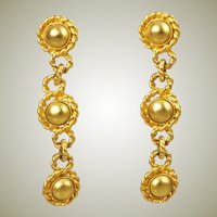 Erwin Pearl Designer Gold Plated Dangle Clip On Earrings