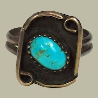 Turquoise and Sterling Silver Native American Ring Size  6 ½