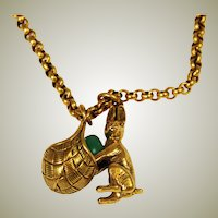 Easter Bunny With Basket Necklace Gold Filled MMA Fbs