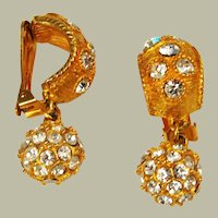 Blanca Elegant Rhinestone Dangle - Clip On Earrings