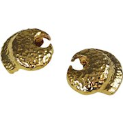 Givenchy Gold Tone Clip On Earrings Signed Paris