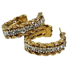 Panetta Elegant Rhinestone Earrings Signed