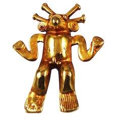 Gold Plated Mayan Brooch Alva Museum Replicas Vintage