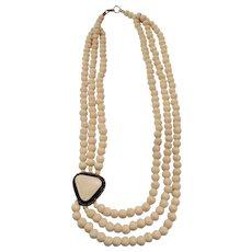 Multi - Strand Bone Necklace - Ethnic Tribal - 25 1/2 inches