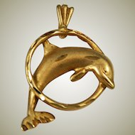 14K Gold Dolphin Pendant or Charm Vintage