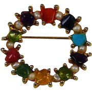 Swoboda Colorful Gemstone Wreath Pin Vintage