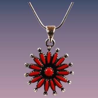 Zuni Red Coral Needlepoint Sterling Necklace Vintage