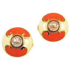 Carolina Herrera Coral Enamel Earrings Clip Ons