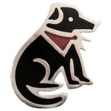 Sterling Silver Anne Harvey - Mexico Black Labrador - Dog Pin - Enamel