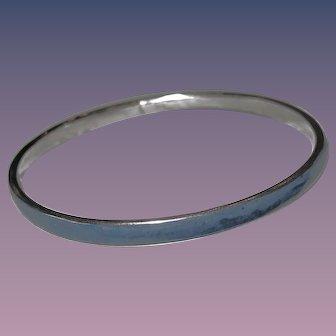 Solid Blue Coral Bangle - Bracelet  - Vintage Silver Tone Metal
