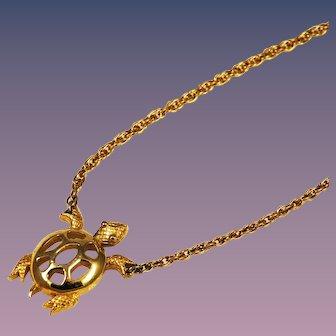 Trifari Gold Turtle Necklace Vintage