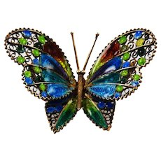 Italian Plique-á-jour Enamel Butterfly Brooch .800 Silver