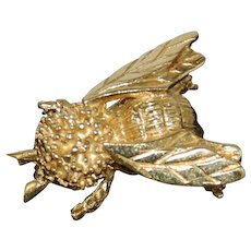 14K Gold Bumble Bee Brooch Estate Piece