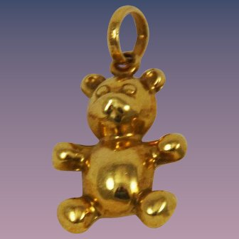18K Gold Teddy Bear Charm Puffy