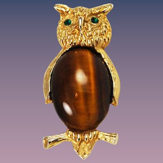 Owl Brooch Tiger's Eye Belly Vintage