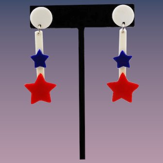 Patriotic Star Lucite Earrings WWII