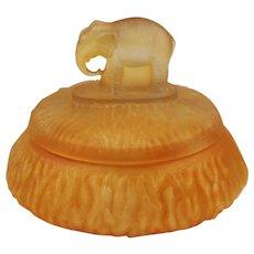 Amber Satin Glass Elephant Powder Jar by L. E. Smith Glass Company