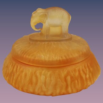 Amber Satin Glass Elephant Powder Jar by L. E. Smith Glass Company