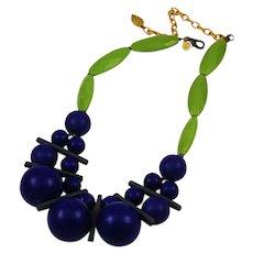 Modern Purple & Green Designer Lucite Necklace by David Aubrey