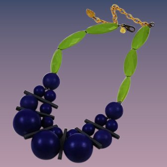 Modern Purple & Green Designer Necklace by David Aubrey