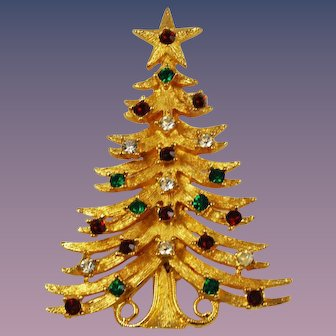 MYLU Rhinestone Christmas Tree Brooch