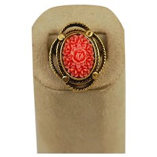 Coral Celluloid Floral Gold Plated Ring Adjustable