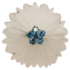 Rock Crystal & Aquamarine 14K White Gold Floral Brooch & Pendant