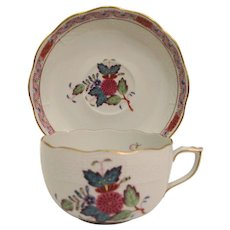 Herend Chinese Bouquet Multi-color - Flat Cup & Saucer
