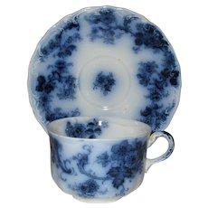 Flow Blue Flat Cup & Saucer - New Wharf - Lancaster Pattern