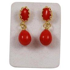 Italian Red Coral Drop Earrings 18Kt Gold
