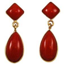 Italian Red Coral Tear Drop Earrings 18Kt Gold