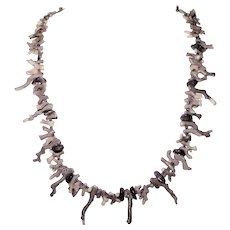 Rare Purple Branch Coral Necklace & Amethyst Stones 24 inches length