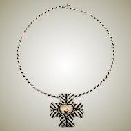 Dian Malouf  Sterling Silver & 14K Cross Pin - Pendant & Choker Necklace RARE