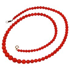Natural Red Coral Graduated Necklace 18K Clasp Vintage