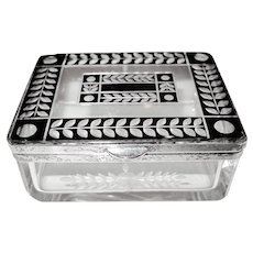Czech Crystal - Deco Container Trinket Box - Silver Plate, Black with Acid etched Leaves