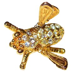 Vintage Bee Trembler - Pin with Rhinestones- Gold Toned