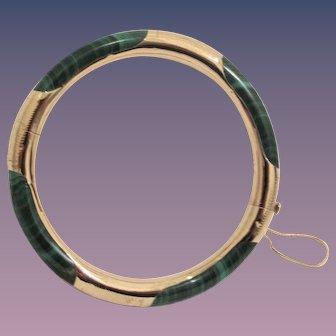 Malachite 14k Solid Gold Bangle Bracelet - Hinge 27 Grams Weight
