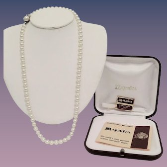 Majorica 24 Inches Simulated Pearl Necklace - 7mm With Box Etc. Mint