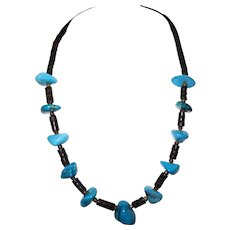Vintage - Turquoise Nugget Heishi Necklace - Deep Blue & Unisex