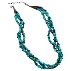 Vintage Turquoise & Sterling Necklace Native American  - Multi Strand