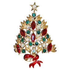 Colorful Rhinestone Christmas Tree Pin Large