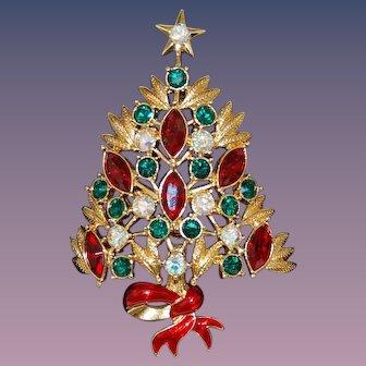 Colorful Rhinestone Christmas Tree Pin Large