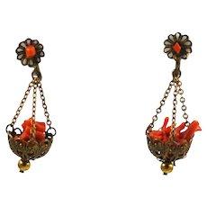 Antique Orange Branch Coral Screw Back Earrings Victorian
