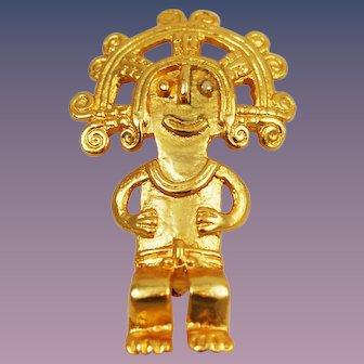 Mayan Brooch Alva Museum Replicas Gold Plated
